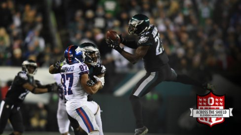 Malcolm Jenkins intercepts two passes and takes one back for a touchdown.