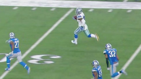 Former Ohio State star Ezekiel Elliott runs 55 yards for a touchdown against the Detroit Lions.