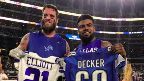 Former Ohio State stars Ezekiel Elliott and Taylor Decker swapped jerseys after playing on Monday Night Football.