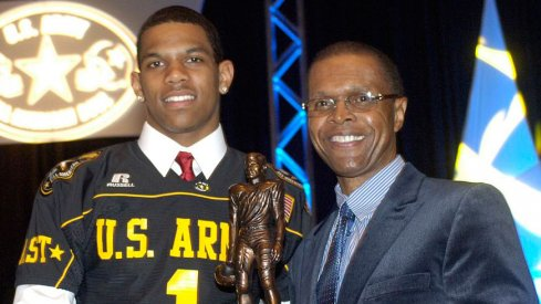 Terrelle Pryor accepts the U.S. Army Player of the Year award in 2008.