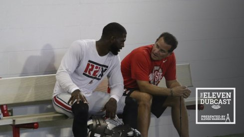 Tim Beck and J.T. Barrett discuss strategy during a practice at Ohio State.