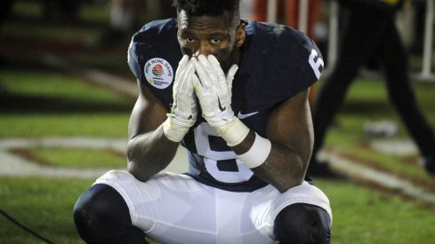 January 2, 2017; Pasadena, CA, USA; Penn State Nittany Lions safety Malik Golden (6) reacts following the 52-49 loss against the Southern California in the 2017 Rose Bowl game at the Rose Bowl. Mandatory Credit: Gary A. Vasquez-USA TODAY Sports