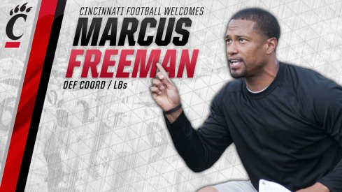 Former Ohio State linebacker Marcus Freeman named Cincinnati defensive coordinator.