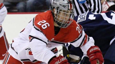 Ohio State forward Mason Jobst skates against Penn State.
