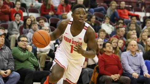 Ohio State's Jae'Sean Tate drives to the basket earlier this season.