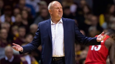 Ohio State head coach Thad Matta on the sidelines at Minnesota.