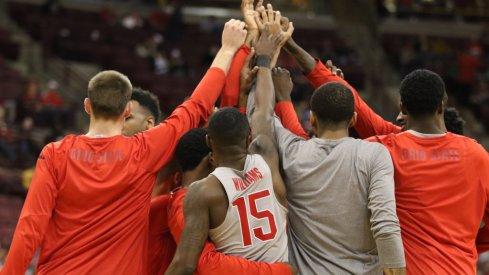 Ohio State huddles prior to a game this season.