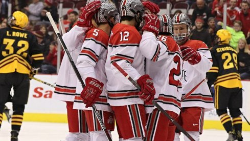 The No. 10 Buckeyes celebrate in a 6-1 win over Arizona State.