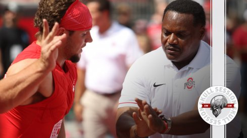 Ohio State's Larry Johnson trains Nick Bosa for the January 16th 2017 Skull Session