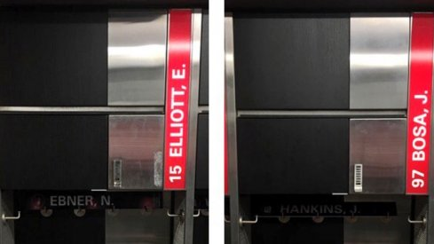 Ezekiel Elliott to Joey Bosa lockers at Ohio State's Woody Hayes Athletic Center.
