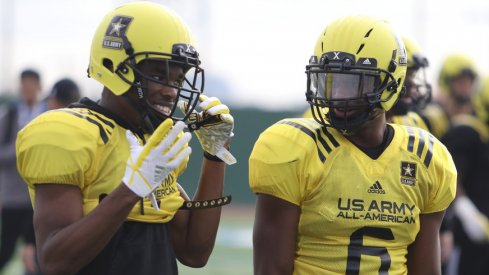 Jeffrey Okudah and Baron Browning at the Army All-American game.