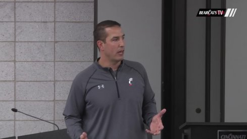 Longtime Ohio State assistant Luke Fickell meets with his new team.