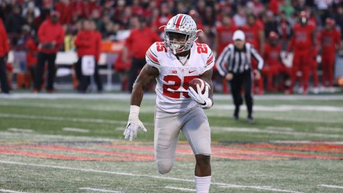 Ohio State and Big Ten Freshman of the Year Mike Weber runs to the end zone against Maryland.