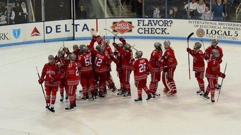 Ohio State Men's Hockey celebrates after stunning No. 1 Penn State
