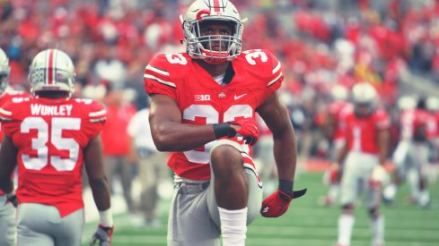 Dante Booker warms up for kick coverage in a 2015 game against Northern Illinois.