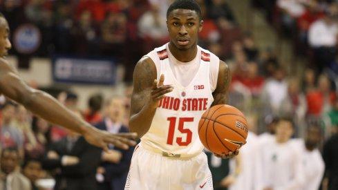 Ohio State redshirt junior guard Kam Williams holds the ball against Northwestern.