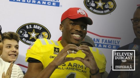 Jeffrey Okudah shows his Ohio State pride at the Army All-American Bowl