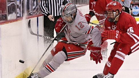 Ohio State forward Miguel Fidler protects the puck against a Wisconsin Badger.