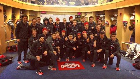 The Ohio State men's ice hockey team in the New York Rangers locker room at Madison Square Garden.