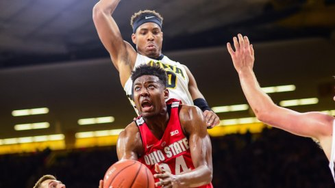 Ohio State's Andre Wesson drives inside against Iowa.