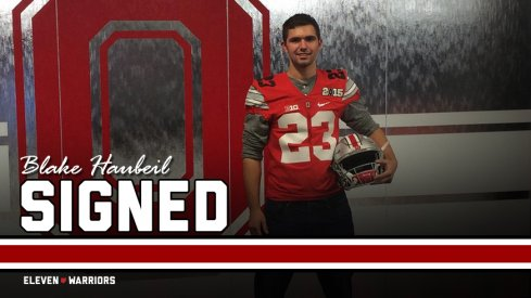 Signed: Three-star kicker Blake Haubeil from Buffalo, New York.