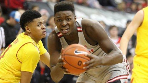 Ohio State forward Jae'Sean Tate drives against Maryland.