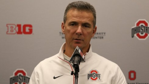 Ohio State head coach Urban Meyer addresses the media earlier this year.
