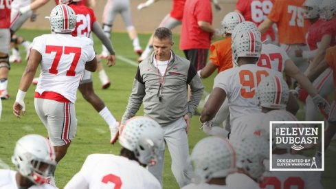 Urban Meyer coaches up his team before the bowl game against Clemson.