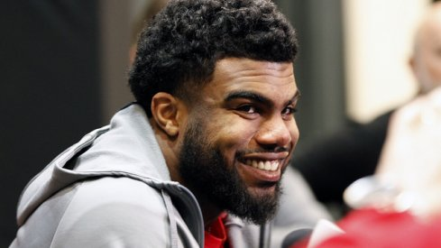 Former Ohio State running back Ezekiel Elliott laughing at Urban Meyer and Tom Herman for questioning his ability.