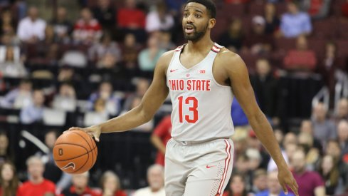 Ohio State point guard JaQuan Lyle dribbles up the floor.
