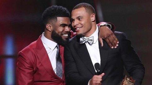 Ezekiel Elliott and Dak Prescott at the NFL year-end award ceremony in Houston.