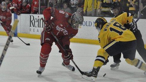 Ohio State forward Dakota Joshua faces off against Adam Winborg of Michigan.