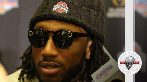 Ohio State's Malik Hooker dons Snapchat glasses for the February 10th 2016 Skull Session