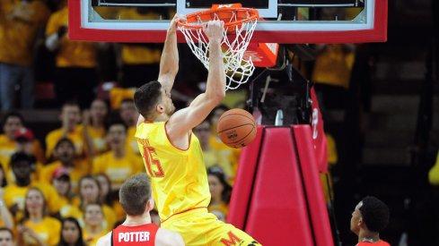 Maryland dunks against Ohio State on Saturday.