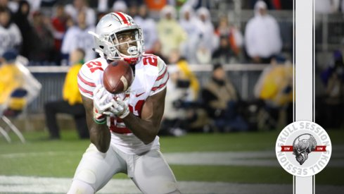 Parris Campbell fields a punt for the February 13th 2017 Skull Session