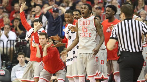 Ohio State's bench celebrates during win over Wisconsin.