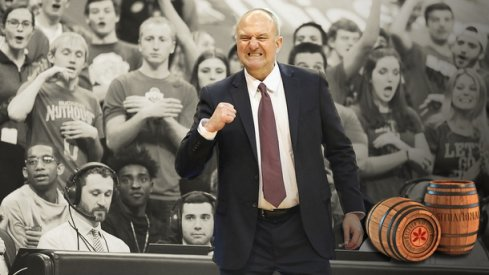 Ohio State coach Thad Matta cheers a made basket in a win against Wisconsin, Feb 2017