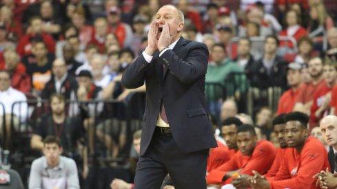 Ohio State head coach Thad Matta screams on the sidelines.