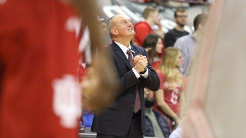 Ohio State coach Thad Matta looks toward the sky against Indiana.