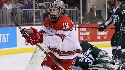 Ohio State's Kevin Miller celebrates a goal against Michigan State.