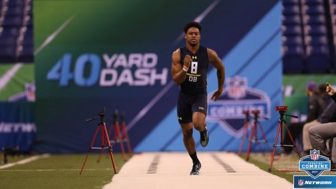 Gareon Conley runs an unofficial 4.45-second 40-yard dash at the NFL Combine.