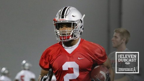 J.K. Dobbins practices at Ohio State during Spring Football.