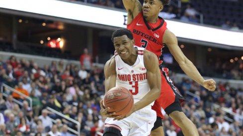 C.J. Jackson grimaces under defensive pressure against Rutgers in the Big Ten Basketball Tournament.