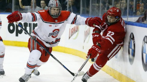 Ohio State's Sasha Larocque defends against the Wisconsin Badgers at Madison Square Garden.