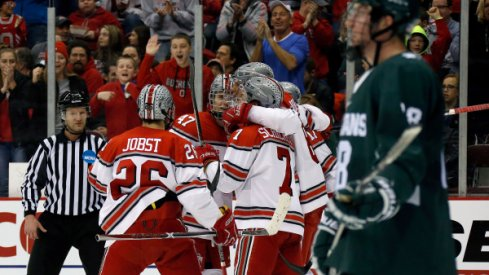 Mason Jobst, Josh Healey, and Nick Schilkey were among six Buckeyes to earn season accolades from Big Ten Hockey.