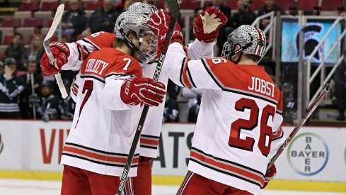 The Buckeyes celebrate their B1G quarterfinal win over the Spartans.