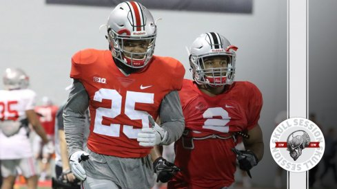 Ohio State running backs Mike Weber and J.K. Dobbins jog to the March 22nd 2017 Skull Session.