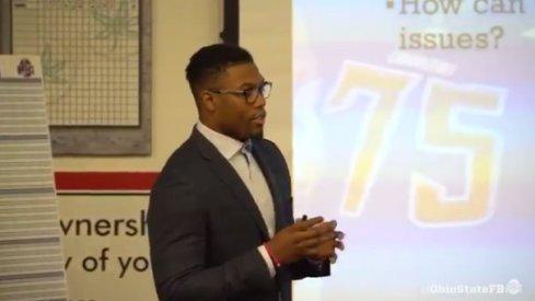 Joshua Perry speaks to Ohio State.