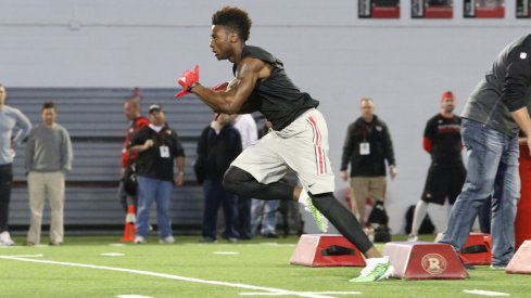 Ohio State wide receiver/running back Curtis Samuel works out at Pro Day.