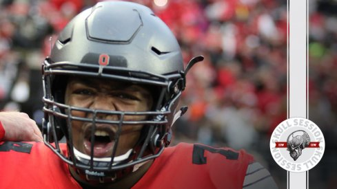 Ohio State's Jamarco Jones yells about the April 4th 2017 Skull Session